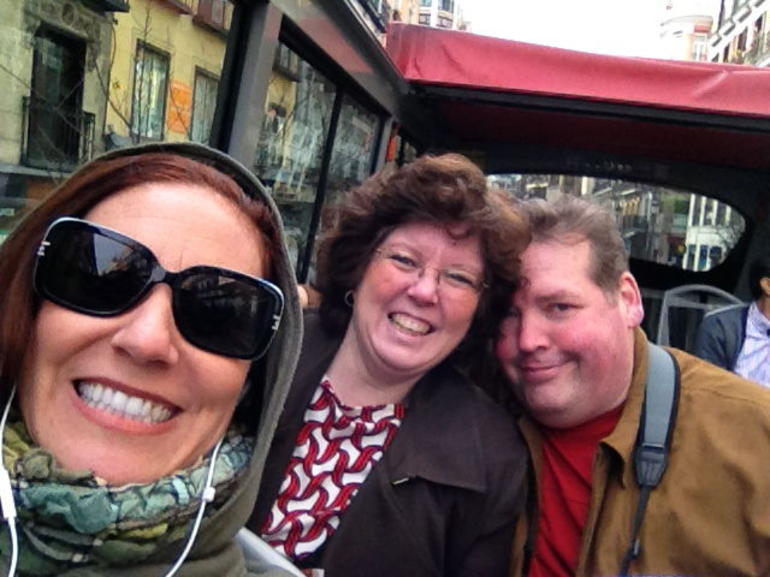 Enjoying the top deck of the bus! - Madrid