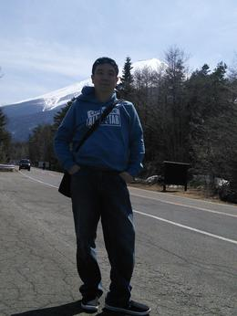 Anton with Mt Fuji background at stop station one. , Anton - April 2014