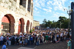 Photo of   Queuing outside L'Arena for opera