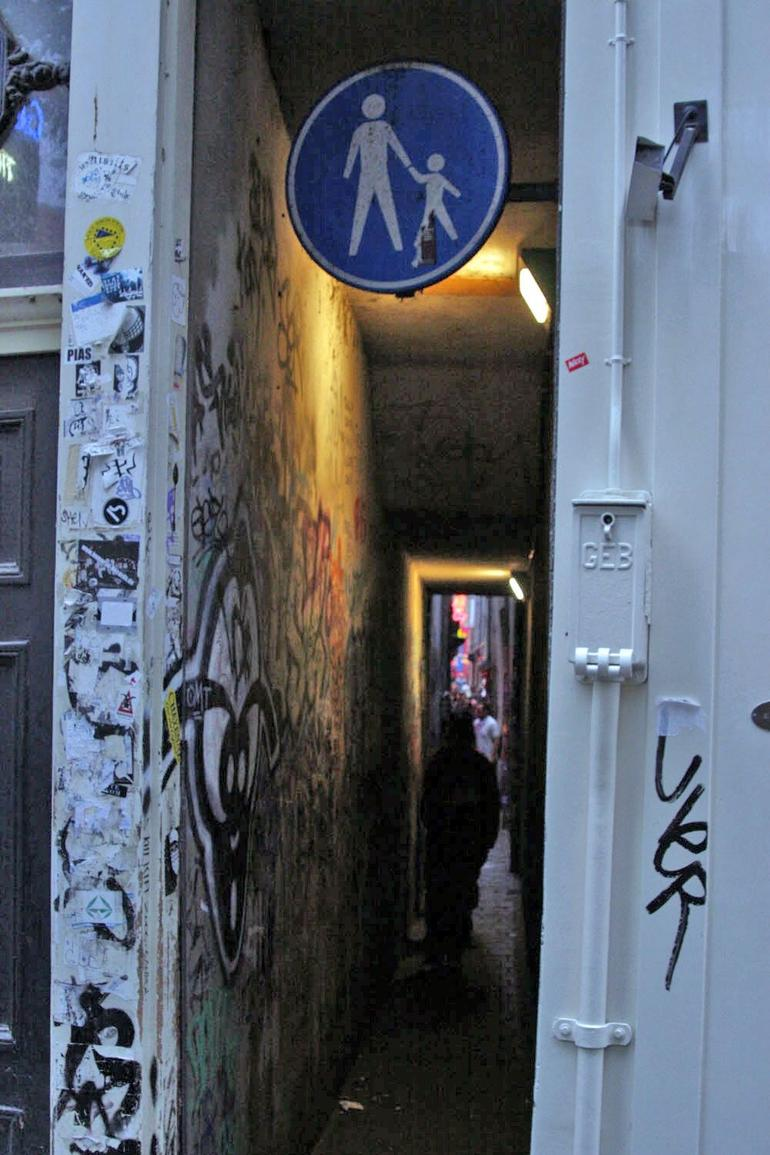 The skinniest alley in the Red Light District - Amsterdam