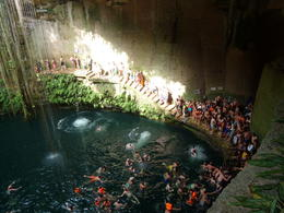 A view of the busy cenote pool , M S - August 2013
