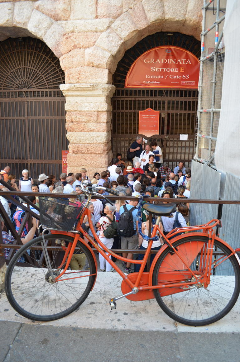 Queuing outside L'Arena - Verona