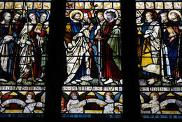 Stained glass dating from 19th century depicting Christian Saints, St Patrick's Cathedral in Dublin, Ireland - June 2011