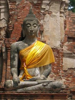 A good picture of the Buddha at Ayuthaya. A clear day for picture taking., Diane B - July 2008