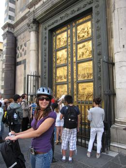 Amy in front of Baptistry Doors in Florence - June 2010