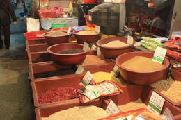 Various grains and spices for sale during our tour of Nagwon Market. - January 2013