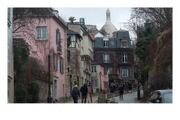 Montmartre street just past Place Dalida , Ellen O - January 2014