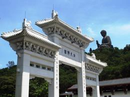 View of the Big Buddha from the Ngong Ping village, and the entrance to the Po Lin monastery. , BethanieKay - July 2014