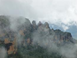 Photo of Sydney Blue Mountains and Jenolan Caves Motorcoach Day Tour Foggy View of Three Sisters