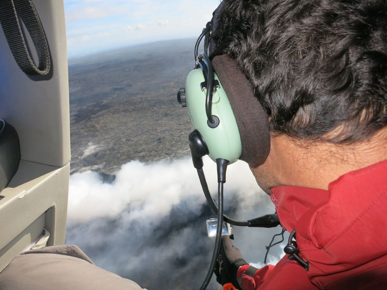 We flew close to the steam vents of the Pu'u O'o Crater, and our pilot made sure both sides of the helicopter had their chance for a close look