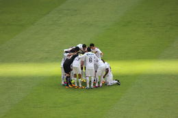 Photo of Mexico City Mexico City Soccer Match at Azteca Stadium Huddle
