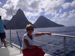 View of Pitons from catamaran. - January 2008