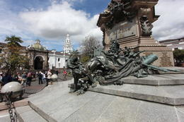 Main plaza in Quito - statue is of the lion being defeated - symbolizing the Ecuadorian independence over the Spanish, Bandit - October 2013