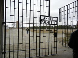 The entrance to the camp, with the inscription, translated to the effect that Labor Makes You Free , Matthew B - March 2012