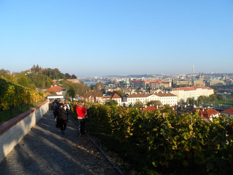 Walking down to the river from Prague Castle