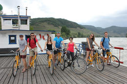 Photo of Vienna Wachau Valley Winery Small-Group Bike Tour from Vienna ferry ride across the Danube