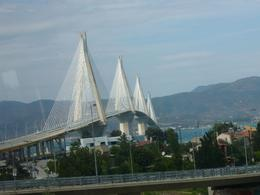 The Rio-Antirio bridge is a cable-stayed bridge crossing the Gulf of Corinth near Patras, linking the town of Rio on the Peloponnese to Antirio on mainland Greece. The bus did not stop here so this ... , Wendy V - October 2009
