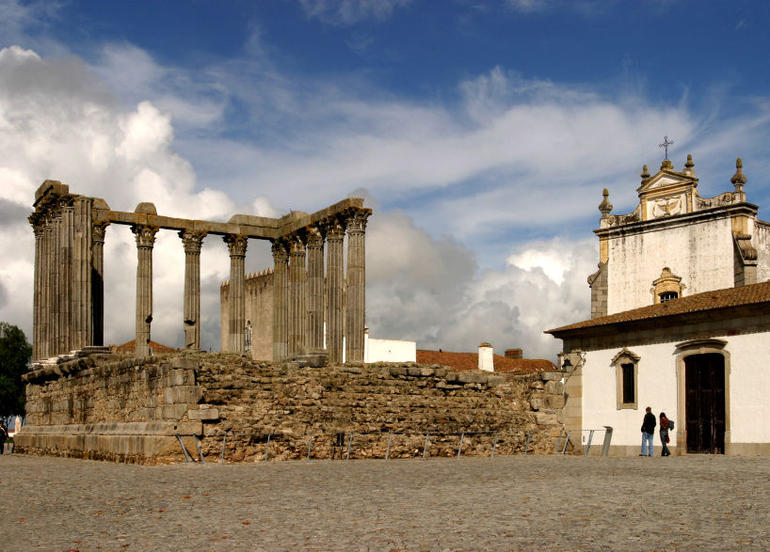 Square in Evora, Portugal with Diana temple - Lisbon