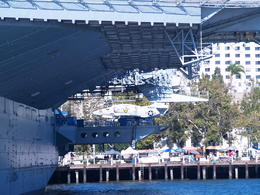 San Diego Harbor Tour - Friday, August 15, 2014. Aircraft on the USS Midway, as seen from the harbor cruise ship looking onto downtown San Diego. , Carrie Mc - August 2014