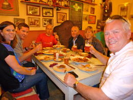 Our guide at the far end of the table was a lot of fun to spend the evening with. Only 6 people on this tour made it very personable. , calier - August 2014