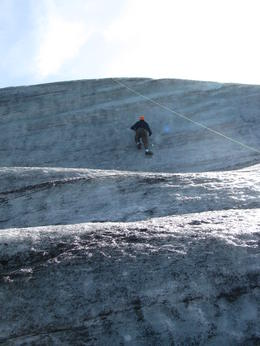 Photo of Reykjavik Day Trip from Reykjavik: Glacier Hiking and Ice Climbing on Iceland's Sólheimajokull Glacier climbing the ice wall