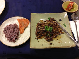 At the end of the class, we enjoyed purple rice, a kimchi pancake, kimchi and our freshly prepared bulgogi. - January 2013