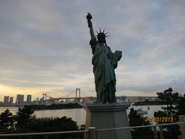 Replica Statue of Liberty in Odaiba, with the Rainbow Bridge behind it. , ANTHONY Y - November 2013