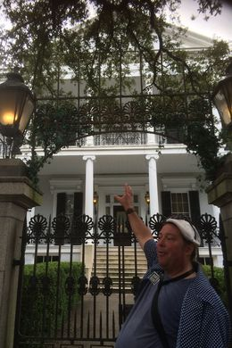 Our guide showing us The house where it was filmed part of American Horror Story Coven , MAGGIE - October 2015