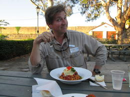 Ray the tour guide had a fantastic chorizo and pasta meal., Nicks - December 2013
