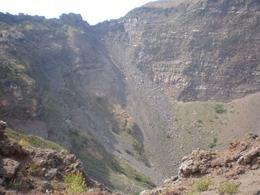Inside Mt. Vesuvius: To visualize the size and depth, pick a small bump at the top right lip of the crater. That could be a person. - November 2011