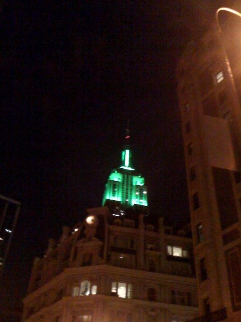 The View of Empire State on St. Patrick's Day - New York City