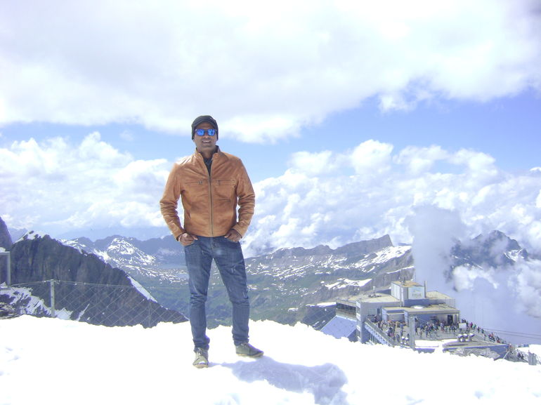 enjoying the snow on top of mt titlis