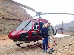 My wife and I after arriving at the bottom of the Grand Canyon adjacent to the Colorado River. Fantastic Time. , Adrian H - December 2014