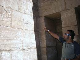 Our lovely guide deciphering hieroglyphics for us at Karnak Temple - May 2008