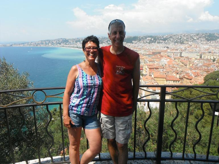 At the tour's half-way mark our guide treated us to sodas and photo-ops at the top of a hill with these amazing views of the shore line of Nice.