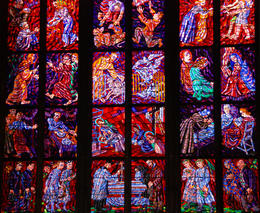 Stained glass church window from St Vitus Cathedral in Prague Castle - May 2011
