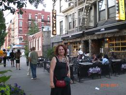 Sheila outside Sylvia's. Lots of 'soul food' and a lovely friendly atmaosphere. , Sheila - July 2011