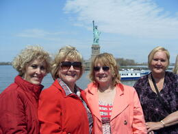Val Jennifer Rose and Margaret on the Viator Boat with the Statue of Liberty behind us. What a view of the Manhattan Sky line. , Jennifer v - May 2011