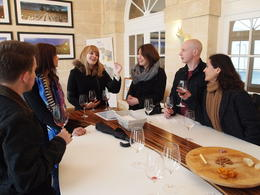 Photo of Bordeaux Small-Group Medoc or St-Emilion Wine Tasting and Chateaux Tour from Bordeaux The Chateau Lagrange tasting room