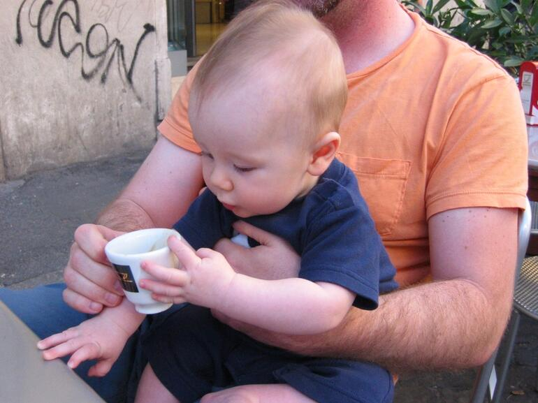 His first espresso - Rome