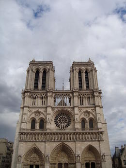The front of Notre Dame Cathedral...beautiful inside and out! , Jessica - July 2011
