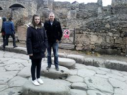 My daughter and quot; Caitlin and quot; and husband and quot;Andy and quot; standing on the stepping stones that cross from one side of street to the other side. All will be revealed on your ... , Julie H - March 2014
