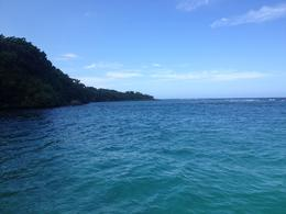 View of the water from the catamaran near Dunn's River Falls, Katiemo - February 2014