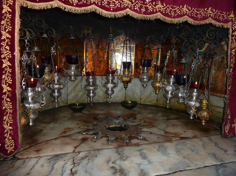 Birthplace of Jesus Christ beneath the alter in the Grotto of the Nativity - Jerusalem