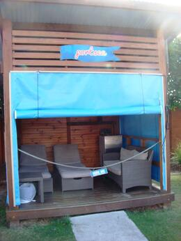 One of the many cabanas available for hire when you visit the park. Available for an extra fee. , ANTHONY A - September 2014