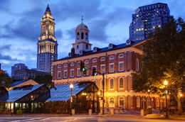 Faneuil Hall located near the waterfront and today's Government Center, in Boston, Massachusetts, has been a marketplace and a meeting hall since 1742 - May 2011