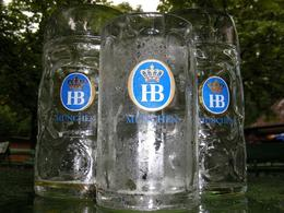 """We took our new found knowledge of Munich's beer and ventured off to the Englisher Garden a few days later. This is what we called """"lunch."""" That's 3 liters of beer. Luckily there's handy... - March 2008"""