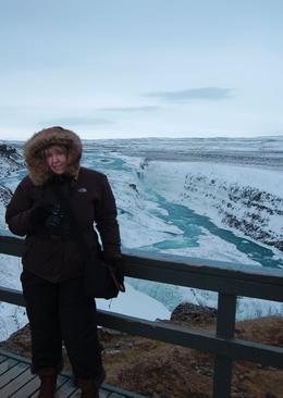 Photo of Reykjavik Gulfoss and Geysir Express Half-Day Trip from Reykjavik Me at Gulfoss waterfall