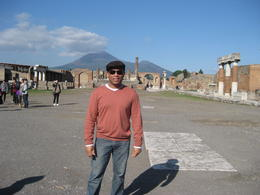 In the main square of the Pompeii ruins, with Mt. Vesuvius in the background. , Abdiel S - November 2011