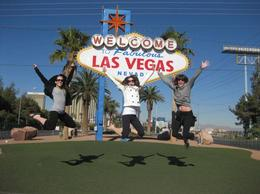 Jumping for joy that we made it to the Las Vegas sign , Mo Burns - December 2010